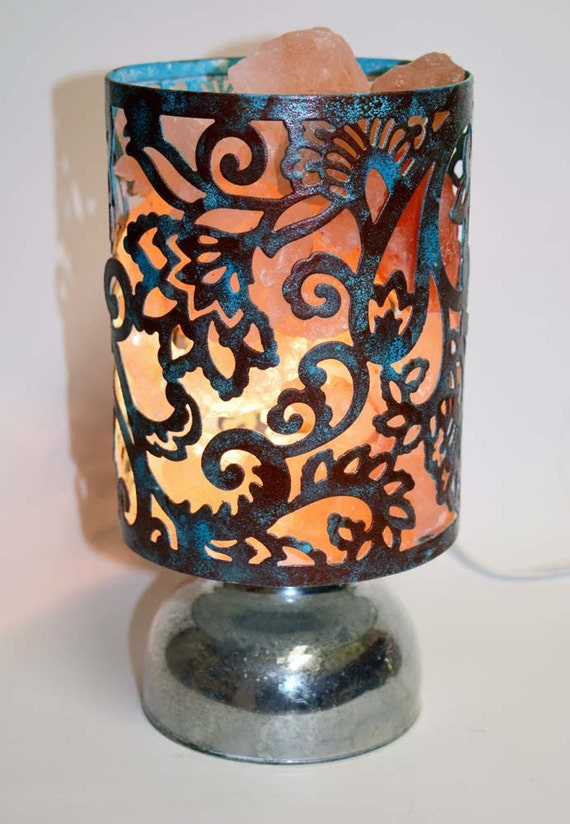 Salt Lamps Overnight : Himalayan Salt Night Light faux copper verdigris finish