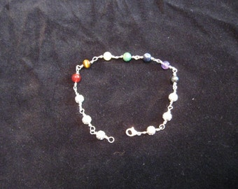 Stunning Silver and semi precious stone chacras bracelet