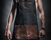 Denim apron with cowhide leather pockets and military belts Work apron Barista apron Barber apron Mens apron Birthday gift Anniversary gift