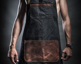 Denim apron with leather pockets and military belts by Kruk Garage Work apron Barista apron Barber apron FREE PERSONALIZATION FREE shipping