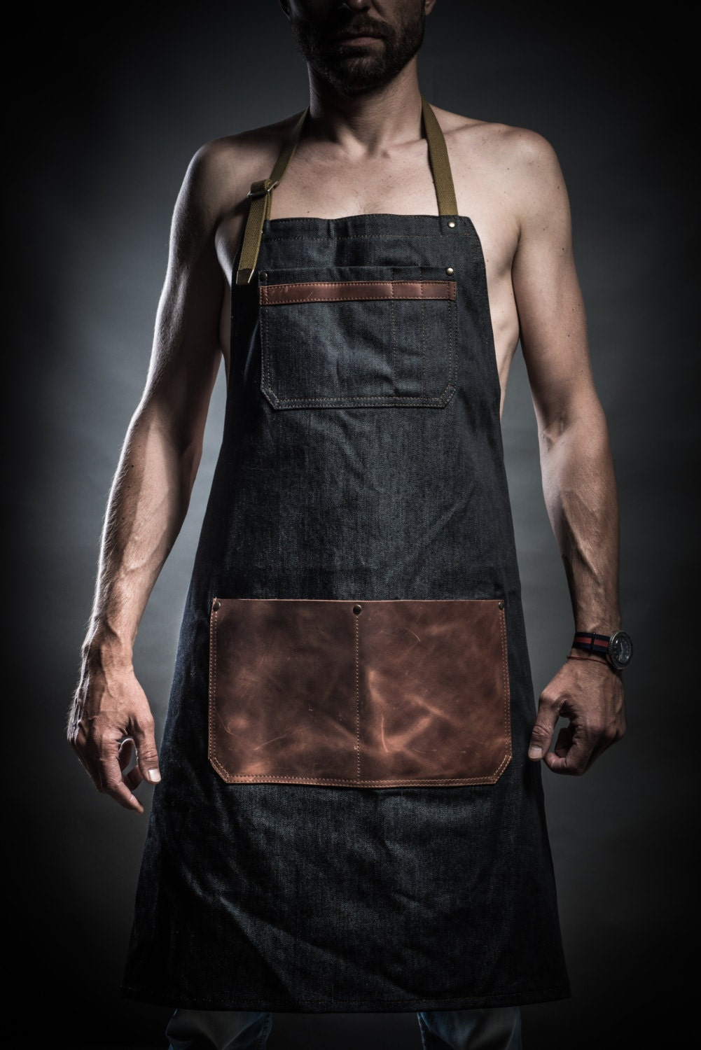 Denim Apron With Leather Pockets And Military Belts By Kruk