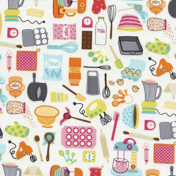 Retro Fabric With Multicolored Kitchen Tools On White Perfect