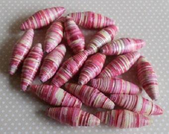 19 Hand made paper beads, raspberry and vanilla