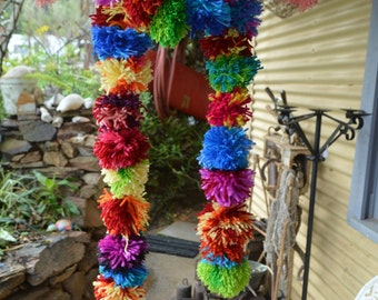 Hand-made Multicoloured Pom Pom Scarf