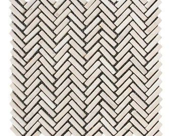 Hand Made Stone Tile - Cream Chevron Stone Tile 1 sq. ft. - Use for Mosaics, Showers, Flooring, Backsplashes and More!
