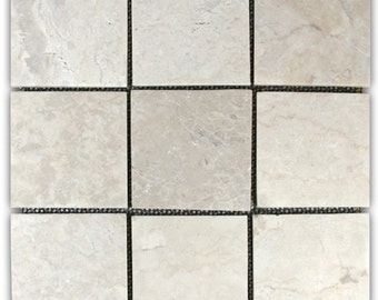 """Hand Made Stone Tile - Cream 4"""" x 4"""" Stone Mosaic Tile 1 sq. ft. - Use for Mosaics, Showers, Flooring, Backsplashes and More!"""