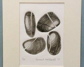 4 Pebbles Limited Edition Mounted Etching No. 3 of 8