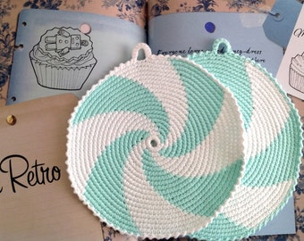 Aquamarine Crochet Pot Holders, Crocheted Potholders, Crocheted Hot Pads,kitchen Decoration
