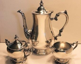 Vintage WM Rogers Silverplate Tea Set-Tea/Coffepot, Sugar & Cream-Victorian Style