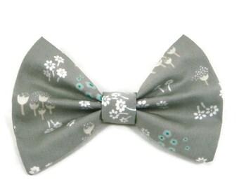 White mint flower fabric hair bow, fabric bow, bow clip, fabric clip, bow hair clip, fabric bow hair clip, flower barrette, mint hair bow