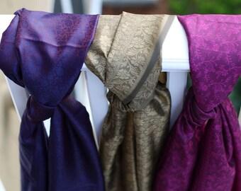 Purple fuschia, gold and purple blue silk scarf