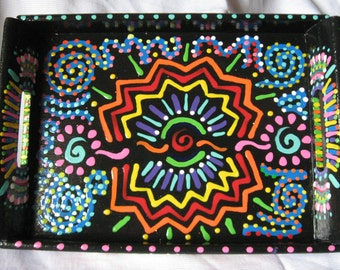 Hand Painted Multi-Colored Serving Tray