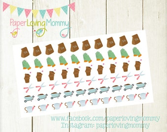 60 Garden Stickers | Planner Stickers designed for use with the Erin Condren Life Planner