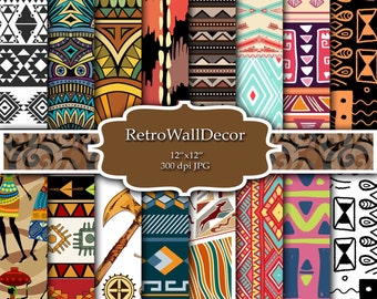 Tribal Digital Paper Tribal Scrapbook Paper Tribal Pattern Tribal Backgrounds Ethnic Patterns  Digital Paper Pack 12x12 Buy 2 Get 1 FREE
