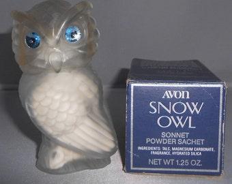 Avon Snow Owl ~ Sonnet Powder Sachet ~ AVON Collector ~ OWL Collector