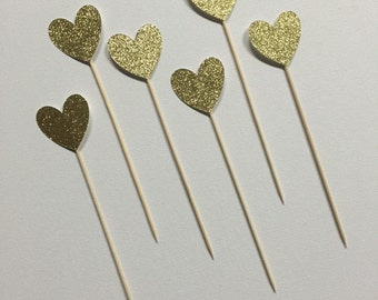 Gold Glitter Heart Cake Toppers - Set of 6-Cake Topper-Birthday-Party Decorations-Baby Shower