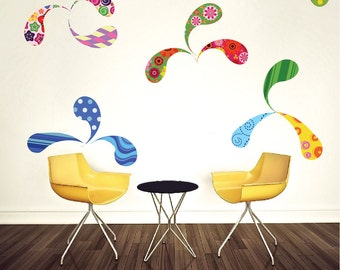 Paisley Wall Decals, Kids' Room Wall Murals, Colorful Wall Murals for Kids, Kids Wall Art Stickers, Swirly Wall Decals, d52