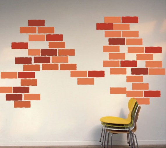 Brick decals brick wall design brick wall art orange brick for Brick wall decal mural