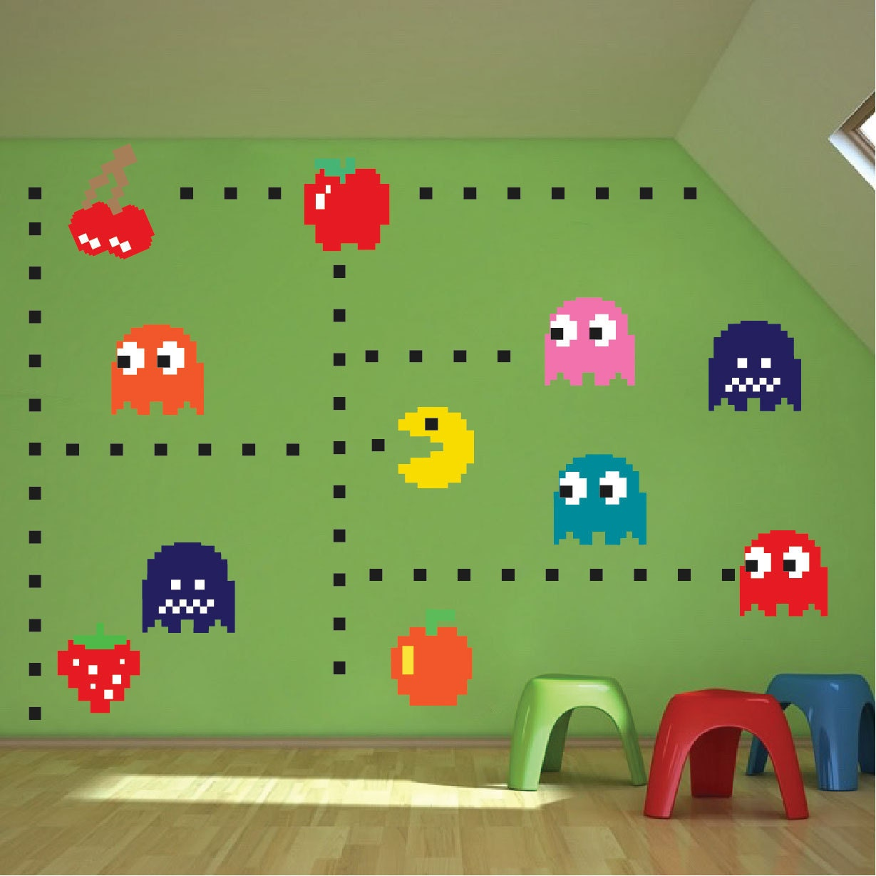 pac man decals atari wall decals pac man wall murals by primedecal. Black Bedroom Furniture Sets. Home Design Ideas