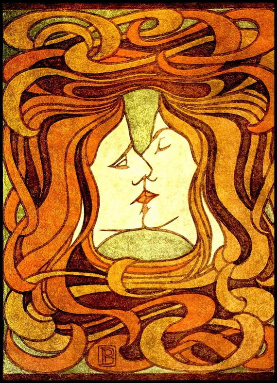 art nouveau print vintage peter behrens 39 the kiss 39