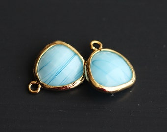 A2-000-G-MB] Milk Blue / 13 x 16mm / Gold plated / Glass Pendant / 2 pieces