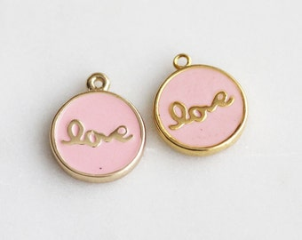 P1-410-G] Pink Epoxy Love Round / 12mm / Gold plated / Pendant / 2 piece(s)