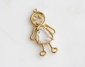 P0-677-G] Cz Cubic Doll / 18 x 34mm / Gold plated / Pendant / 2 piece(s)
