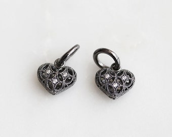 P0-775-M] Cz Cubic Heart / 10 x 10mm / Gunmetal plated / Pendant / 1 piece(s)