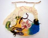 "Floral picture ""Оrchid"", Contemporary Fiber Art, Craft Textiles, 3D Wall hanging, Creative textile - felt design, Home decor accessories"