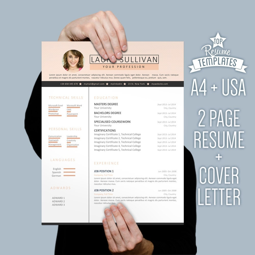 Resume Template Cover Letter 2 Page CV A4 By