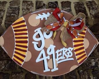 San Francisco 49ers Football Wooden Door Hanger