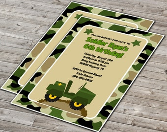 50% OFF SALE- Camoflauge Birthday Invitation printable - Army Birthday Invitations - Digital Kids Party Invitation