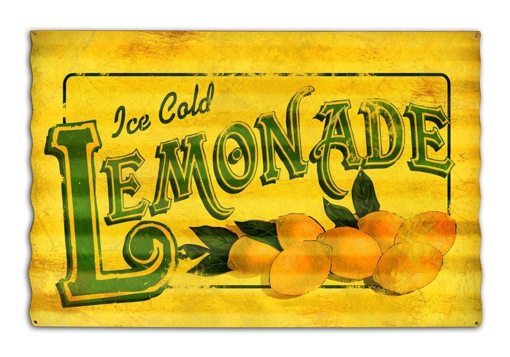 vintage lemonade corrugated metal sign 24 x 16 by