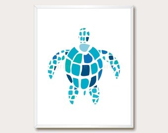 Turtle Print. Blue Art. Animal Printable. Aqua. Summer Print. Nursery Art. Turtle Wall Art. Animal Printable. Modern Print. Instant Download