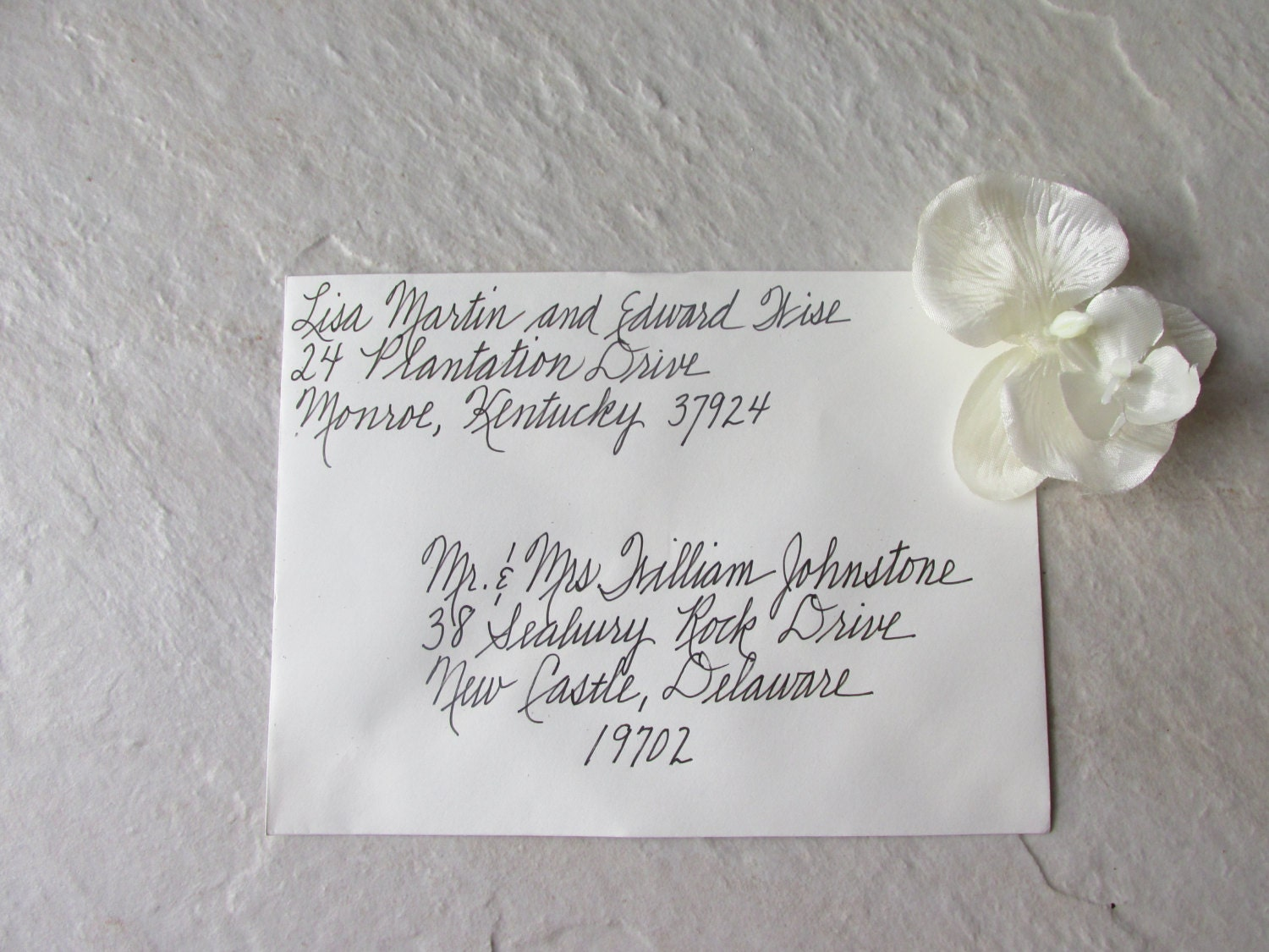 Custom handwritten wedding invitation envelopes by for Order in wedding invitation envelope