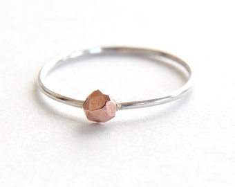 Delicate copper nugget ring