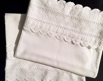Pair of Standard Size Vintage White Embroidered Whitework Cotton Pillowcases with Scalloped Lace Trim - Set of Two