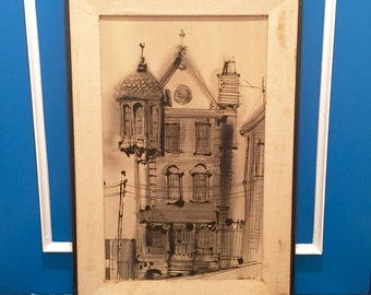 SALE! Large Vintage Framed Pen & Ink Wash Drawing of a House by Artist Dorise Naidorf, c. 1964