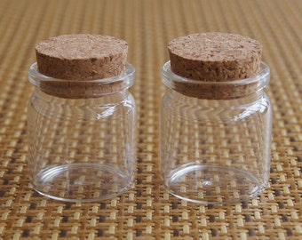 Lot of 85 (20ml) Clear Glass Bottles w/ Corks. Wedding Invitation Favors 37x40mm Tiny Empty Jars. Small Vials. Message in a Bottle. 20 ml