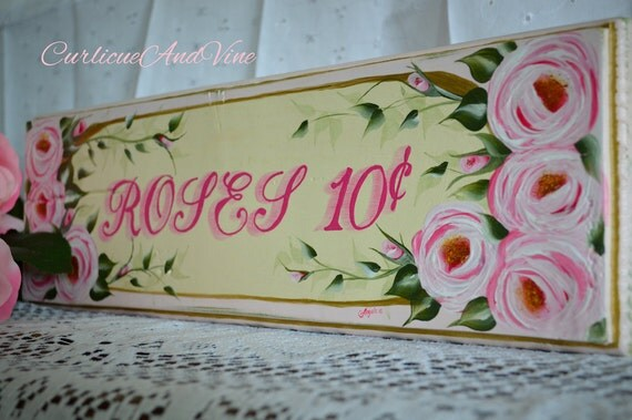 """Shabby Cottage Chic """"Rose"""" Sign"""