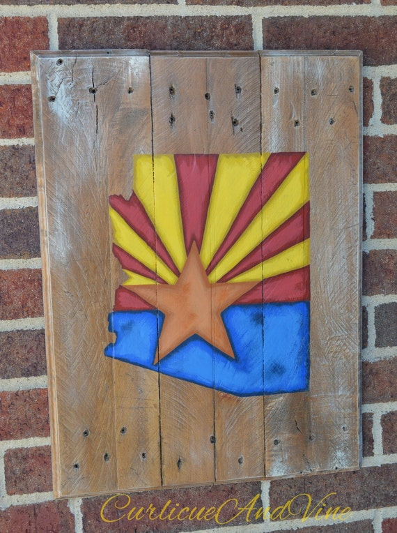 Arizona State Flag - Pallet Wood Sign-Pallet Board-Rustic Barnwood Decor-Man Cave-Flags-Shabby-Reclaimed Wood-Hand Painte