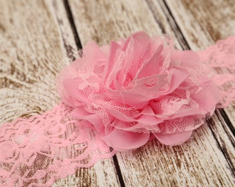 Pink Lace Headband,Light Pink Headband,Pink Hairbow,Flower Girl Headband,Baby Headband,Child Headband,Infant Headband,Pink Hair Clip