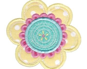Cute Flower Applique Design 4 Machine Embroidery Design 4x4 5x7 6x10