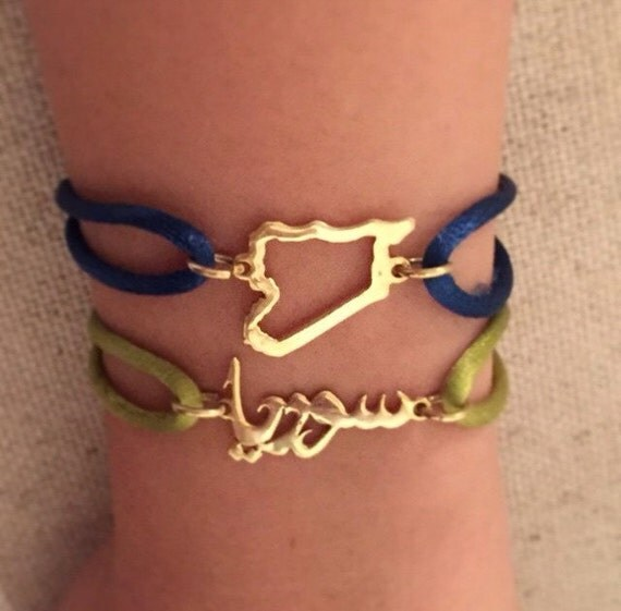 Syria map bracelet or syria in arabic calligraphy made of Sterling Silver-Custom map bracelet with colorful cord, hand made, سوريا