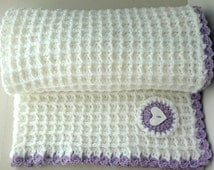 "Baby white and light purple handmade waffle pattern crochet stroller  blanket  30"" x 30"""