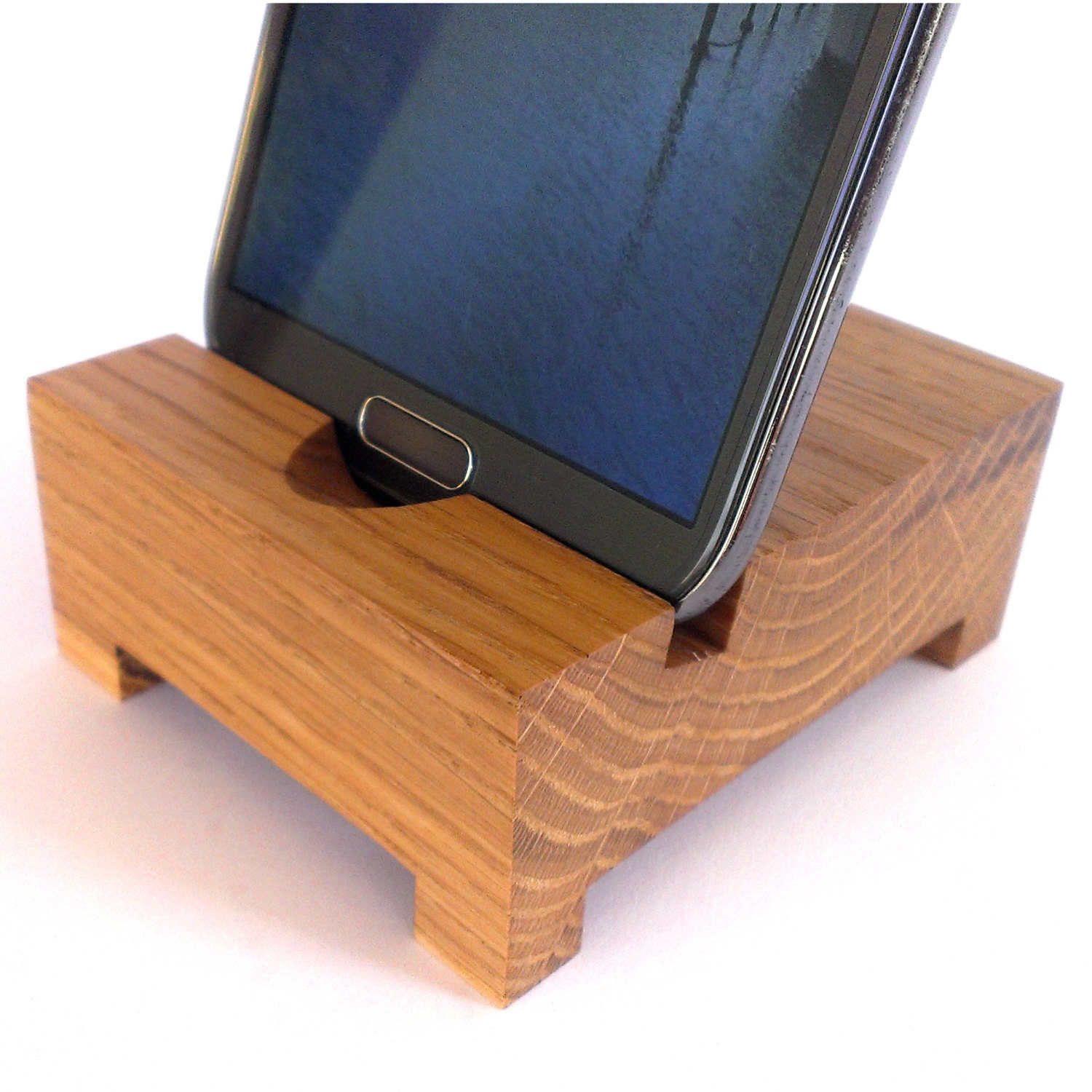 Wood iphone galaxy smart phone desk stand holder by