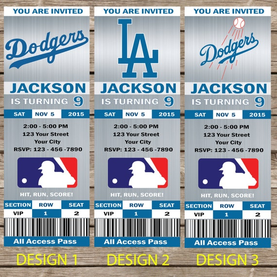 los angeles dodgers ticket invitations invite  invitationcard