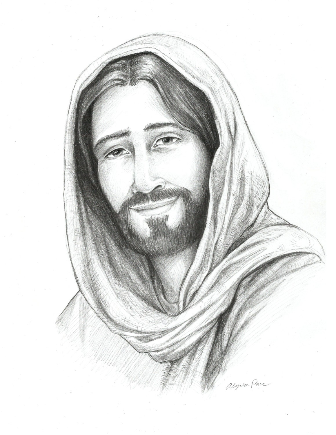 Drawing of Christ Sketch of Jesus Religious Art Savior of