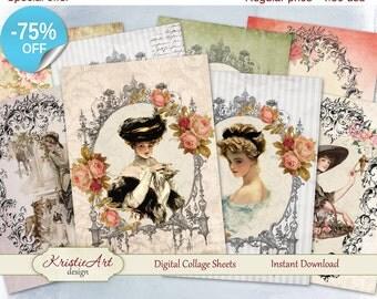 75% OFF SALE Digital Collage Sheet, Ladies Frames Sheet, Printable Download Sheet, Digital cards C075, Altered Art, Atc Aceo Jpeg printable