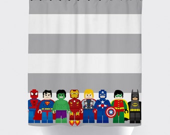 Super hero shower curtains superhero shower curtain fabric shower